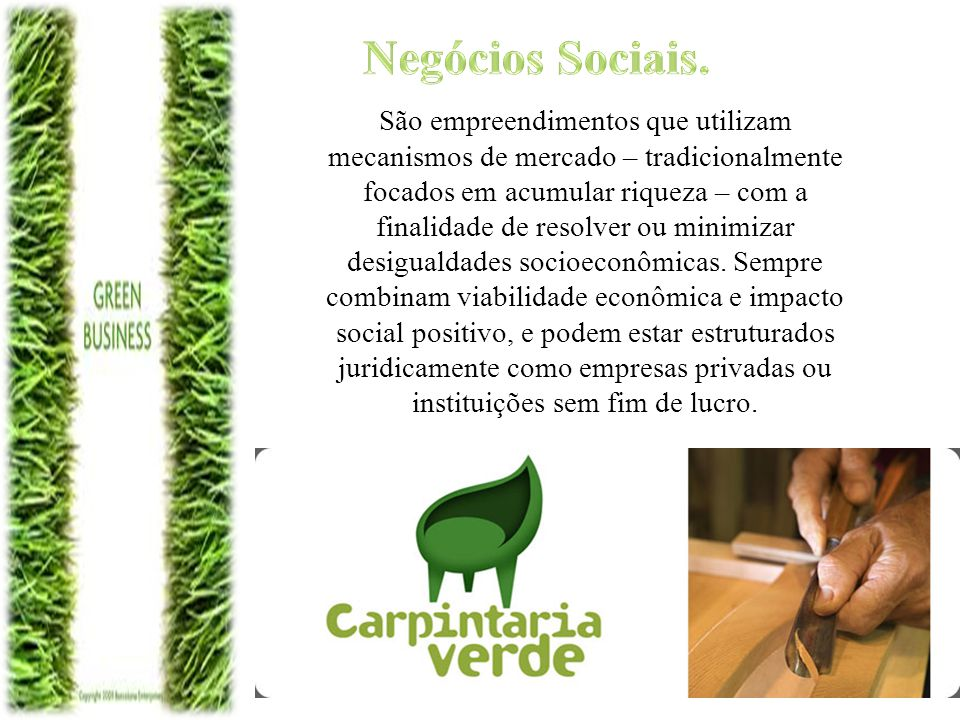 Negócios Sociais. São empreendimentos que utilizam