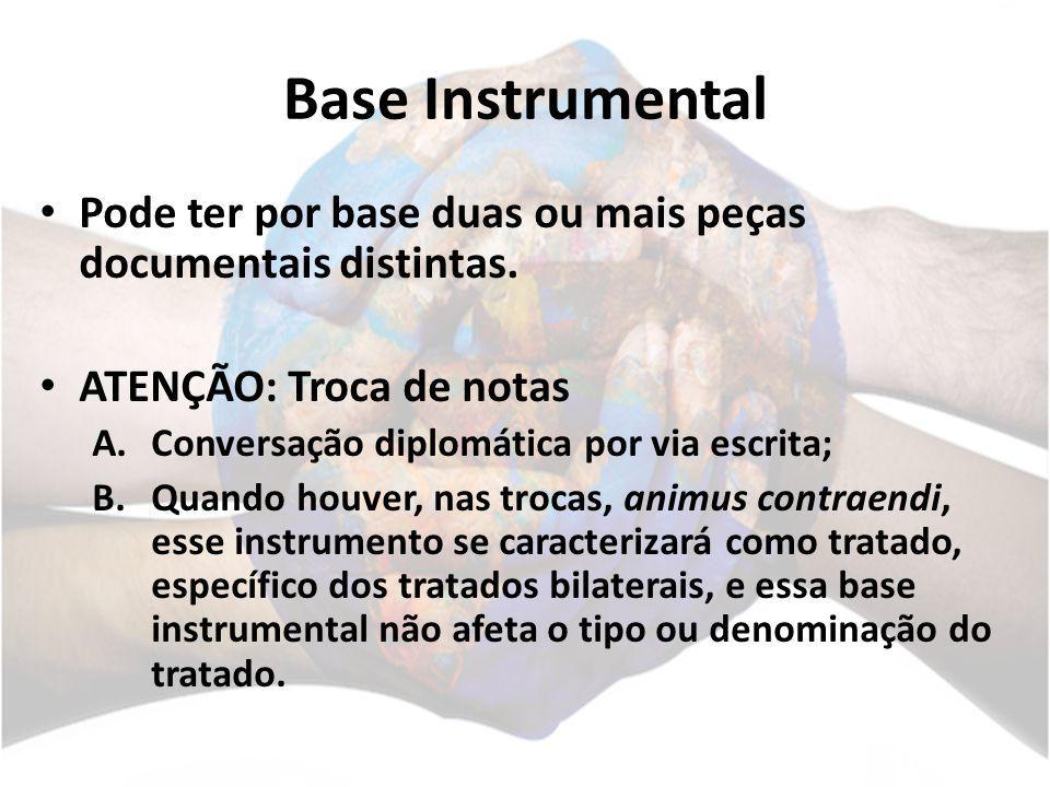 Base Instrumental Pode ter por base duas ou mais peças documentais distintas. ATENÇÃO: Troca de notas.