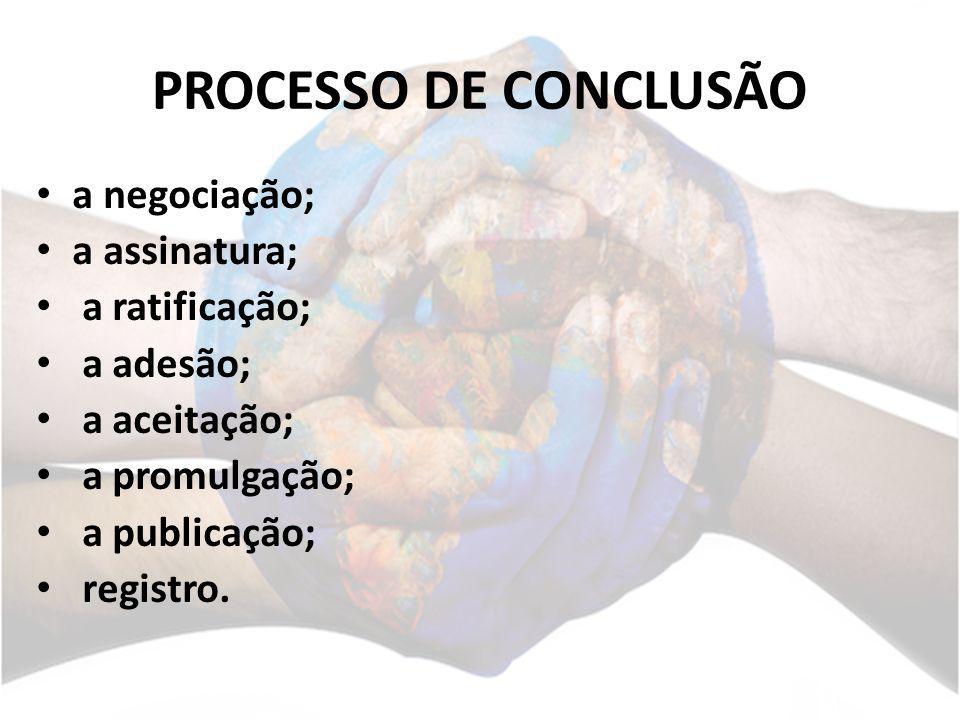 PROCESSO DE CONCLUSÃO a negociação; a assinatura; a ratificação;