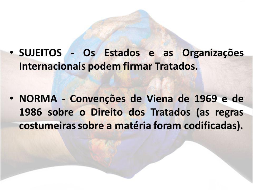 SUJEITOS - Os Estados e as Organizações Internacionais podem firmar Tratados.