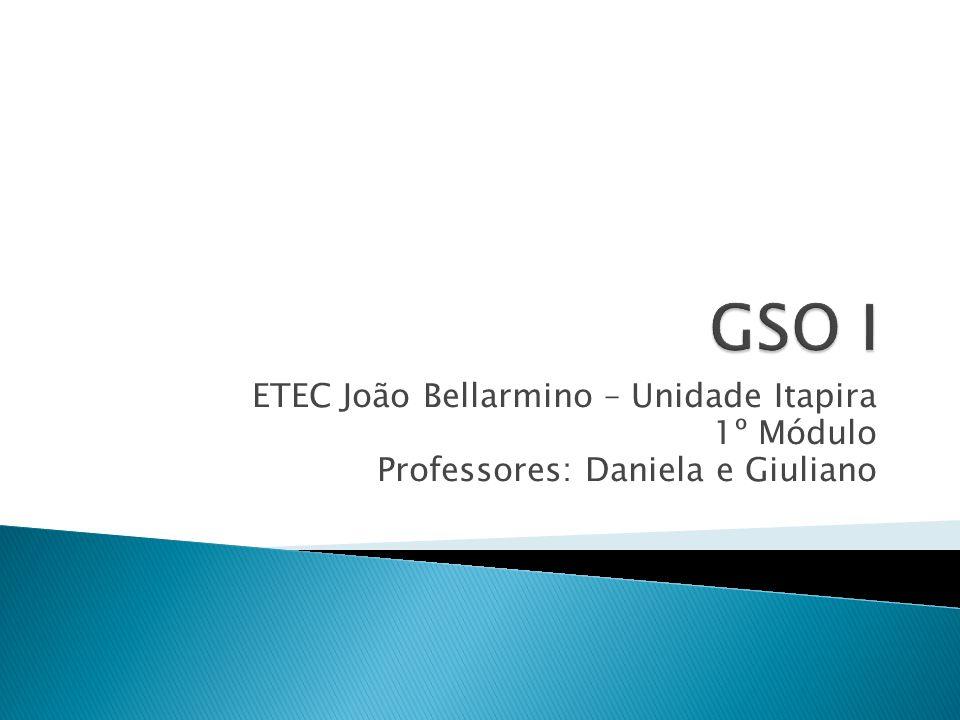GSO I ETEC João Bellarmino – Unidade Itapira 1º Módulo