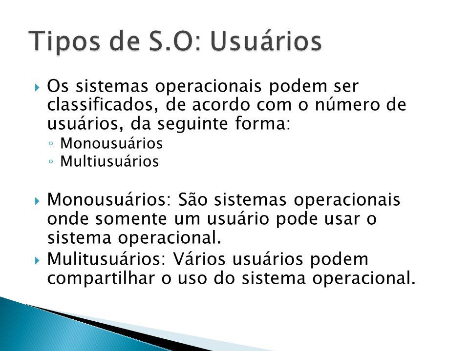 Tipos de S.O: Usuários Os sistemas operacionais podem ser classificados, de acordo com o número de usuários, da seguinte forma: