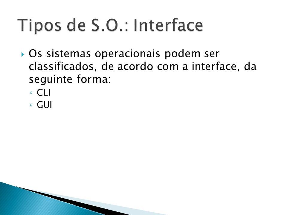 Tipos de S.O.: Interface Os sistemas operacionais podem ser classificados, de acordo com a interface, da seguinte forma: