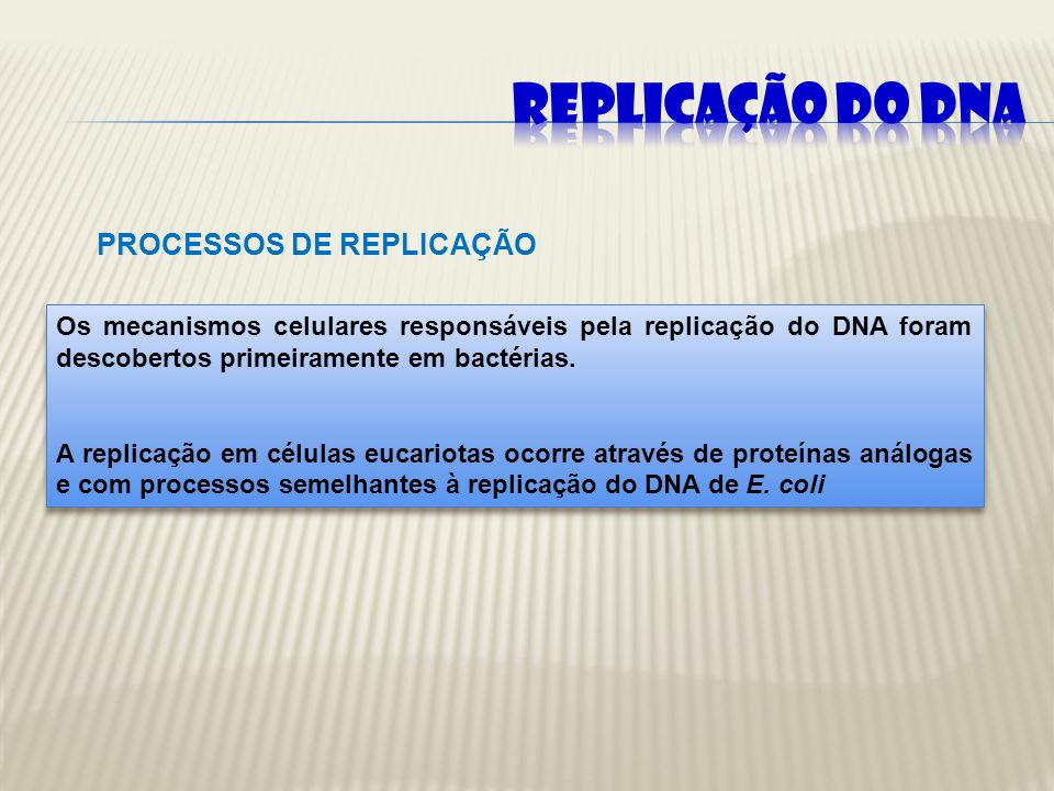 PROCESSOS DE REPLICAÇÃO