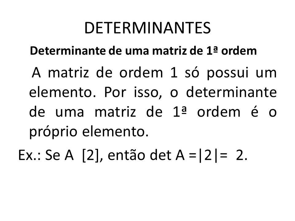 DETERMINANTES Determinante de uma matriz de 1ª ordem.