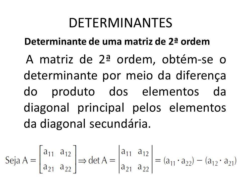 DETERMINANTES Determinante de uma matriz de 2ª ordem.