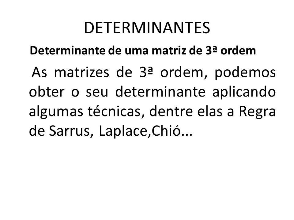 DETERMINANTES Determinante de uma matriz de 3ª ordem.