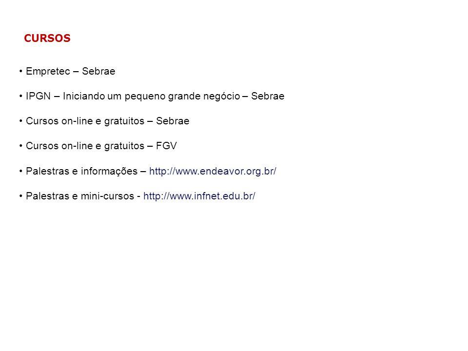 CURSOS Empretec – Sebrae. IPGN – Iniciando um pequeno grande negócio – Sebrae. Cursos on-line e gratuitos – Sebrae.