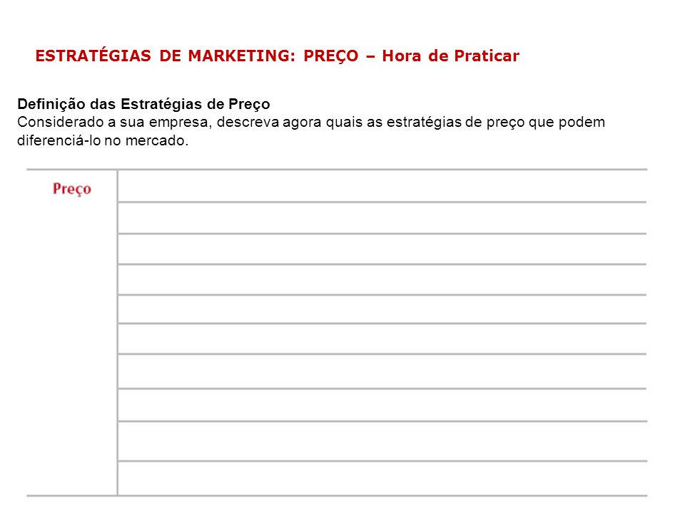 ESTRATÉGIAS DE MARKETING: PREÇO – Hora de Praticar