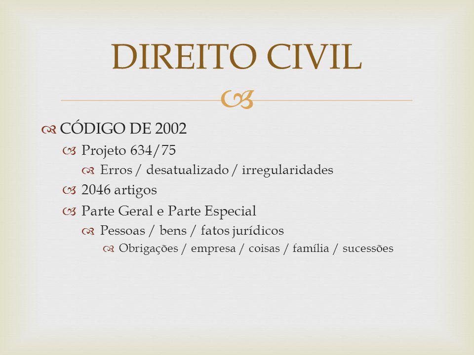 DIREITO CIVIL CÓDIGO DE 2002 Projeto 634/75 2046 artigos