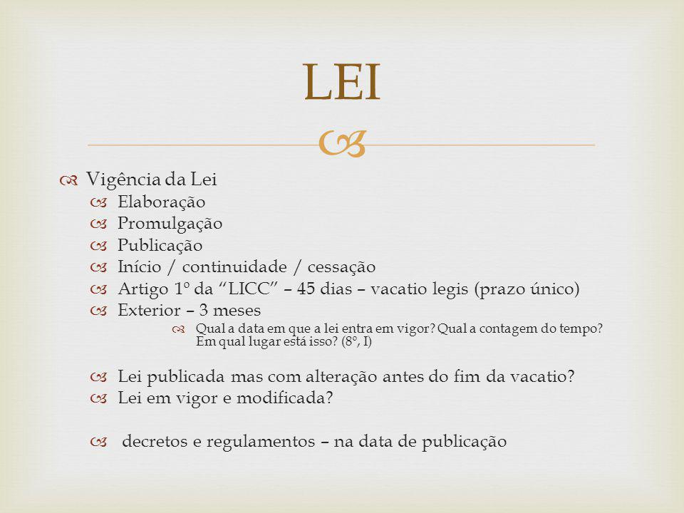 LEI Vigência da Lei Elaboração Promulgação Publicação