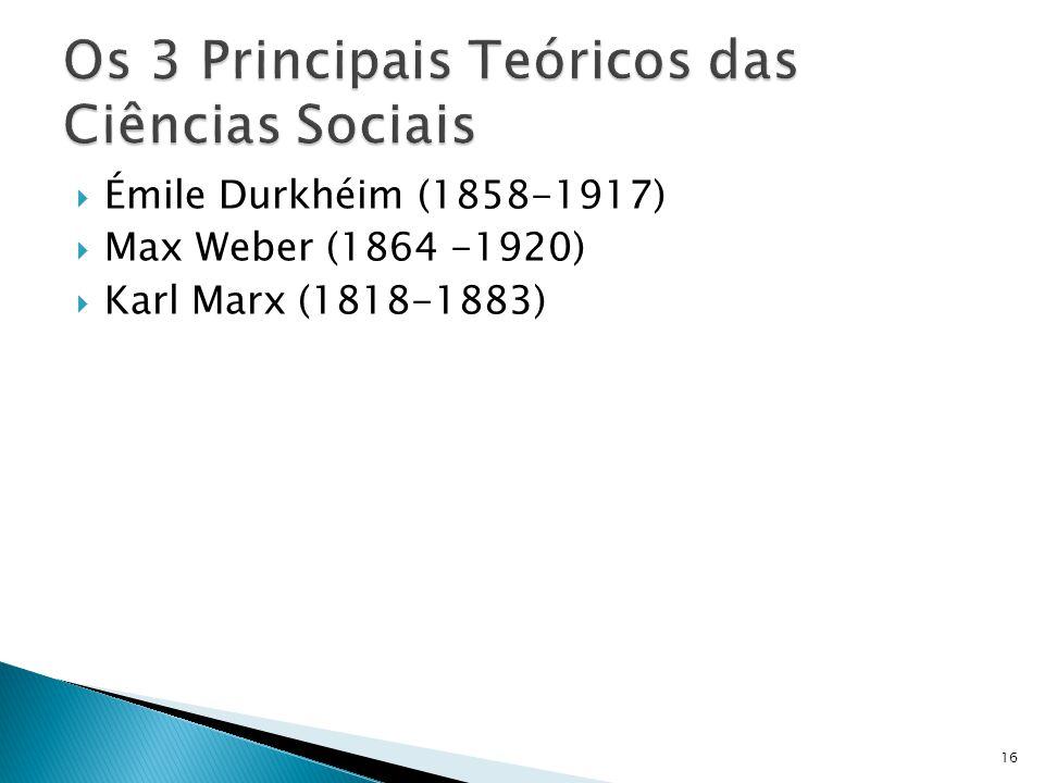 Os 3 Principais Teóricos das Ciências Sociais