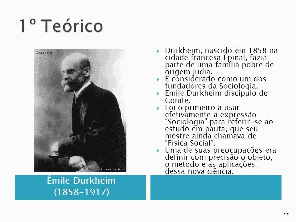 1º Teórico Émile Durkheim (1858-1917)