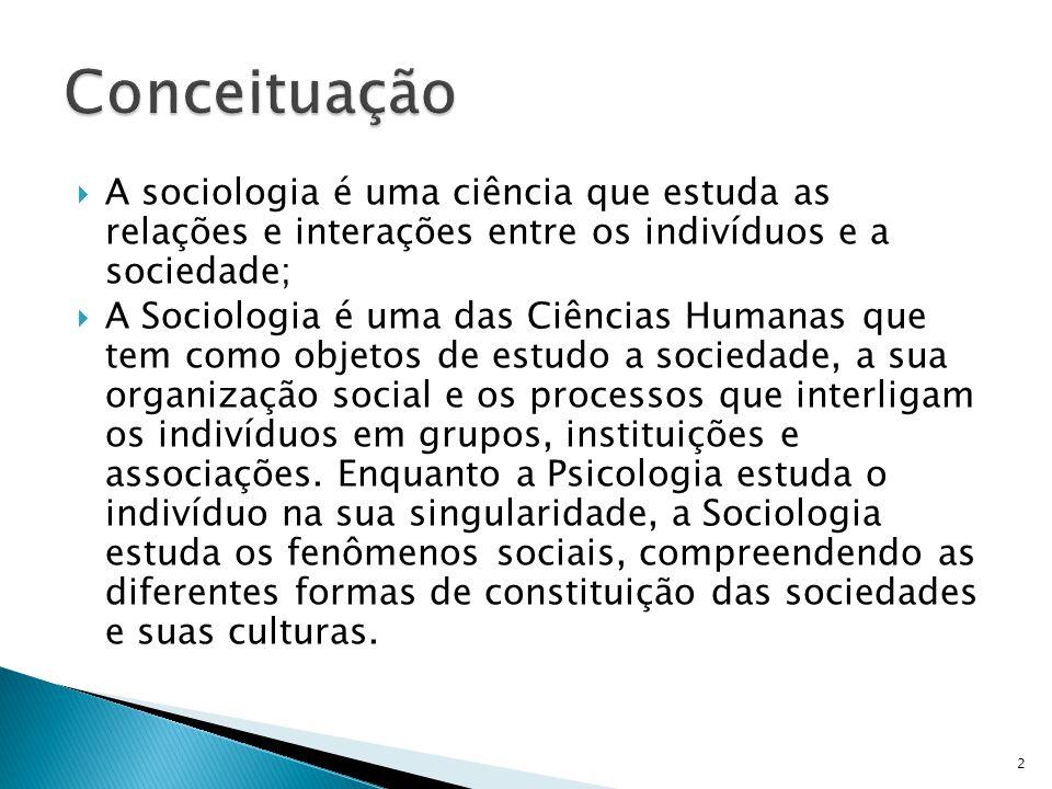 Conceituação A sociologia é uma ciência que estuda as relações e interações entre os indivíduos e a sociedade;