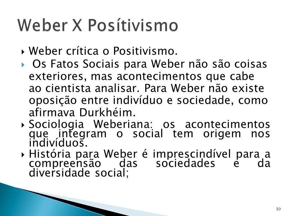 Weber X Posítivismo Weber crítica o Positivismo.