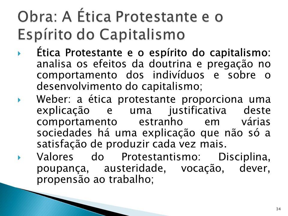 Obra: A Ética Protestante e o Espírito do Capitalismo
