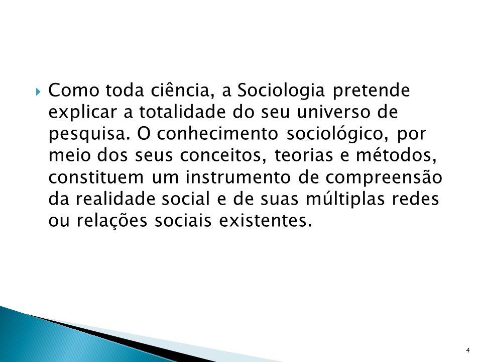 Como toda ciência, a Sociologia pretende explicar a totalidade do seu universo de pesquisa.