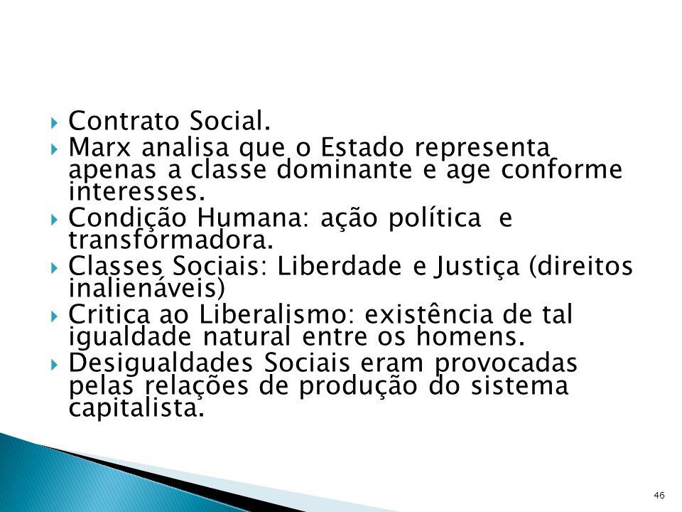 Contrato Social. Marx analisa que o Estado representa apenas a classe dominante e age conforme interesses.