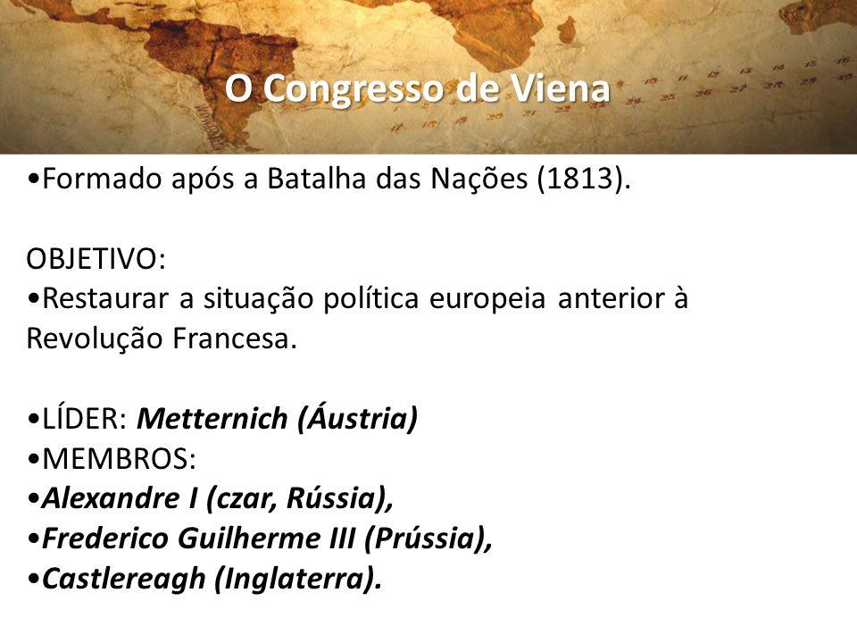O Congresso de Viena •Formado após a Batalha das Nações (1813).