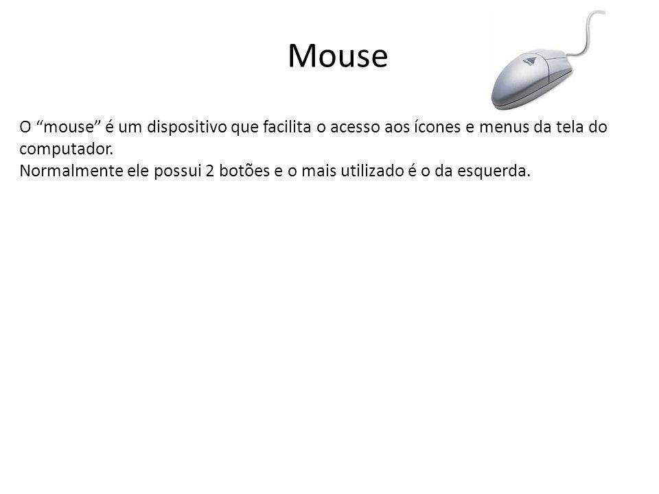 Mouse O mouse é um dispositivo que facilita o acesso aos ícones e menus da tela do computador.