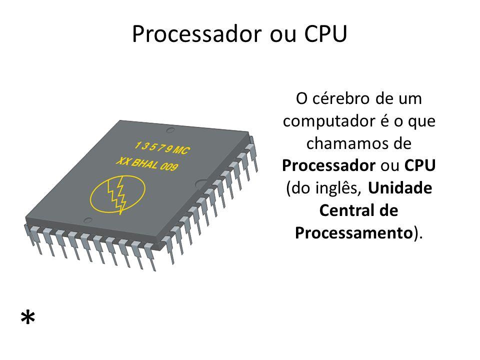 Processador ou CPU O cérebro de um computador é o que chamamos de Processador ou CPU (do inglês, Unidade Central de Processamento).