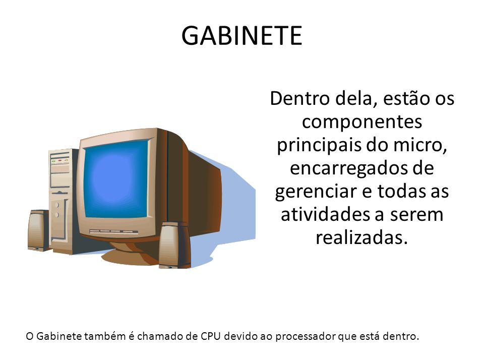 GABINETE Dentro dela, estão os componentes principais do micro, encarregados de gerenciar e todas as atividades a serem realizadas.