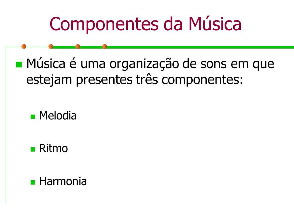 Componentes da Música Música é uma organização de sons em que estejam presentes três componentes: Melodia.