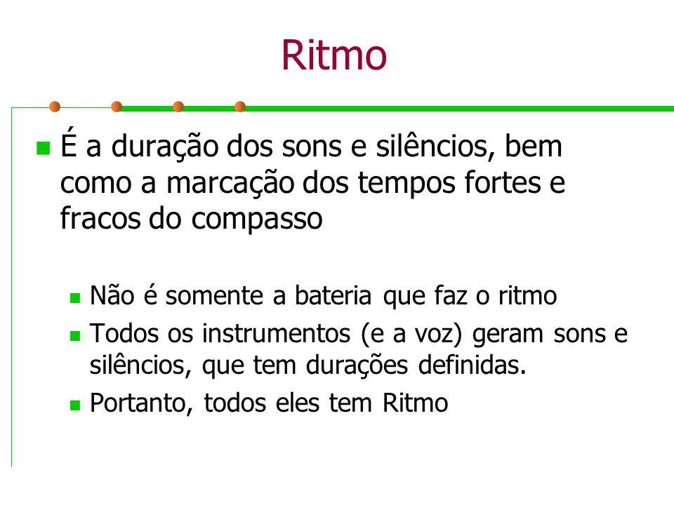 Ritmo É a duração dos sons e silêncios, bem como a marcação dos tempos fortes e fracos do compasso.