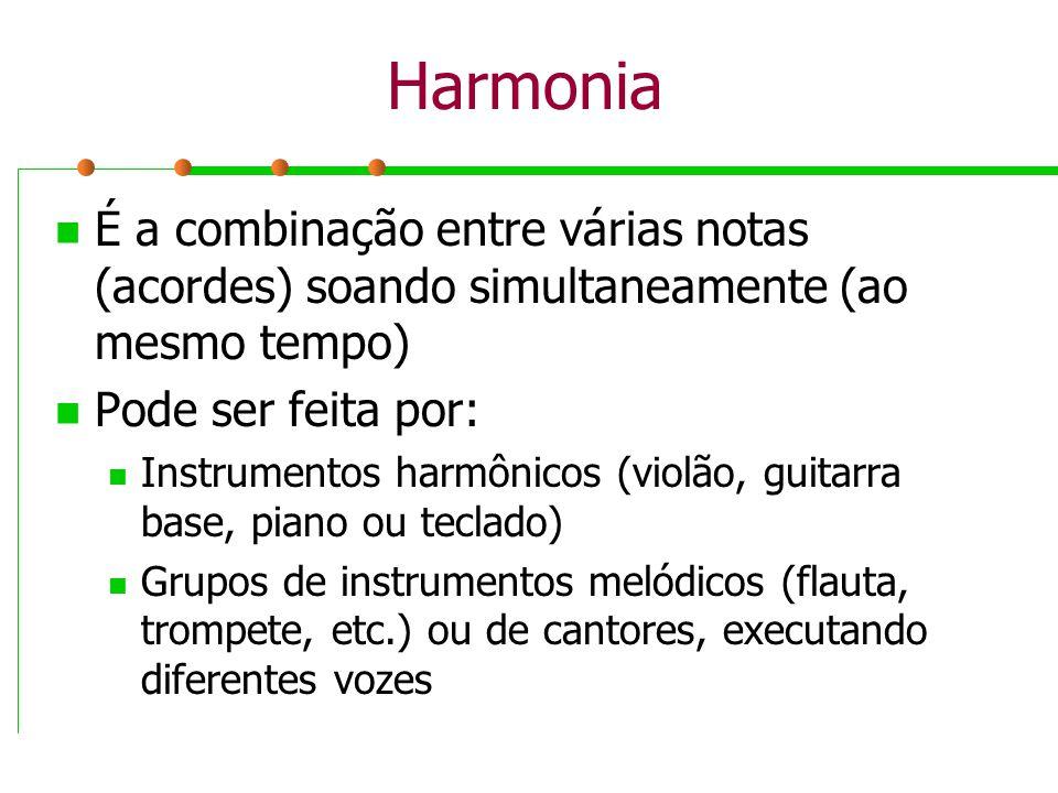 Harmonia É a combinação entre várias notas (acordes) soando simultaneamente (ao mesmo tempo) Pode ser feita por: