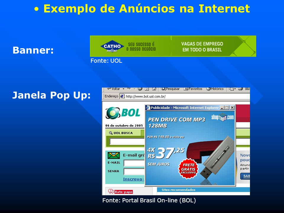 Exemplo de Anúncios na Internet