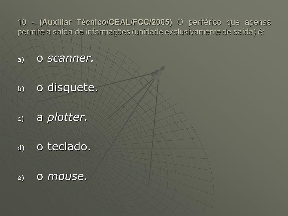 o scanner. o disquete. a plotter. o teclado. o mouse.