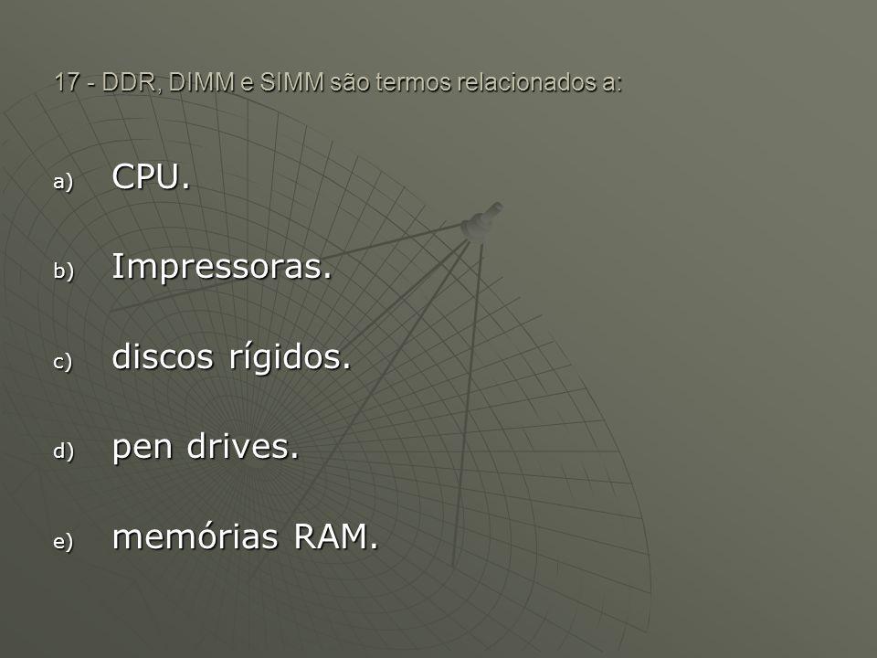 17 - DDR, DIMM e SIMM são termos relacionados a: