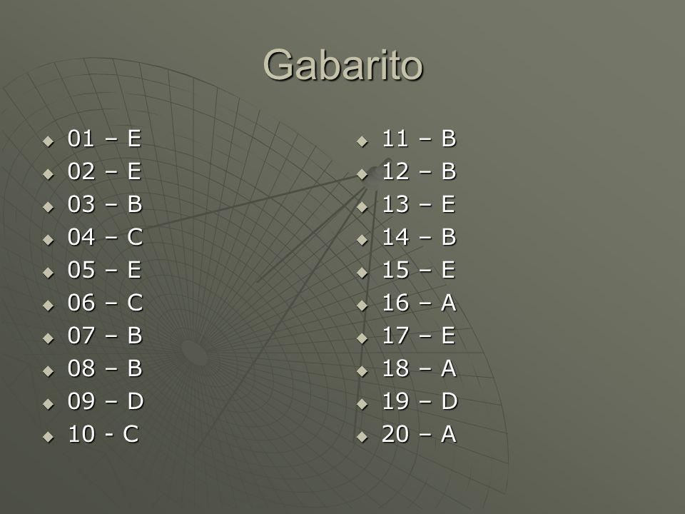 Gabarito 01 – E 02 – E 03 – B 04 – C 05 – E 06 – C 07 – B 08 – B