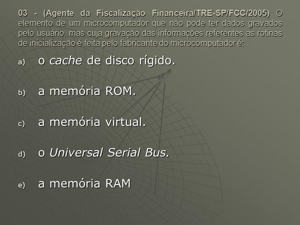 o cache de disco rígido. a memória ROM. a memória virtual.