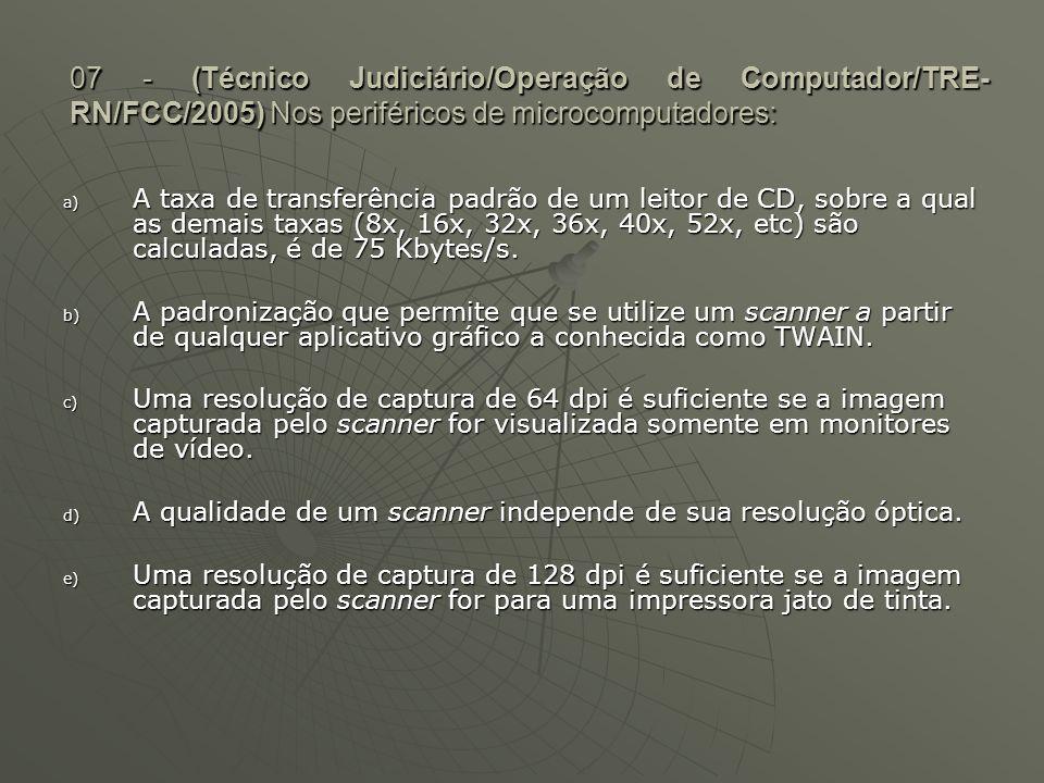 07 - (Técnico Judiciário/Operação de Computador/TRE-RN/FCC/2005) Nos periféricos de microcomputadores: