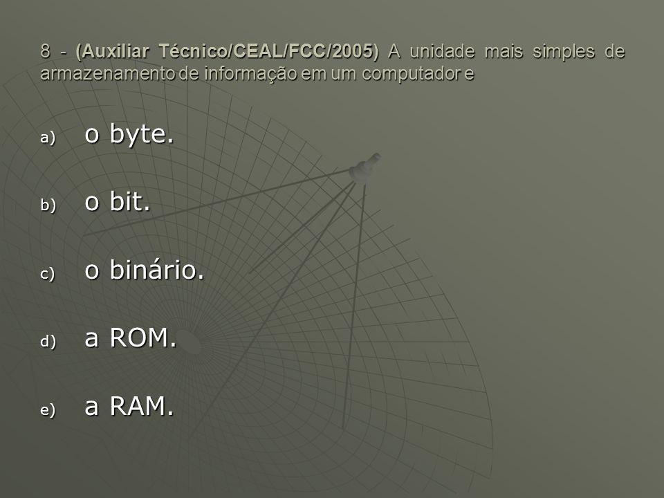 o byte. o bit. o binário. a ROM. a RAM.