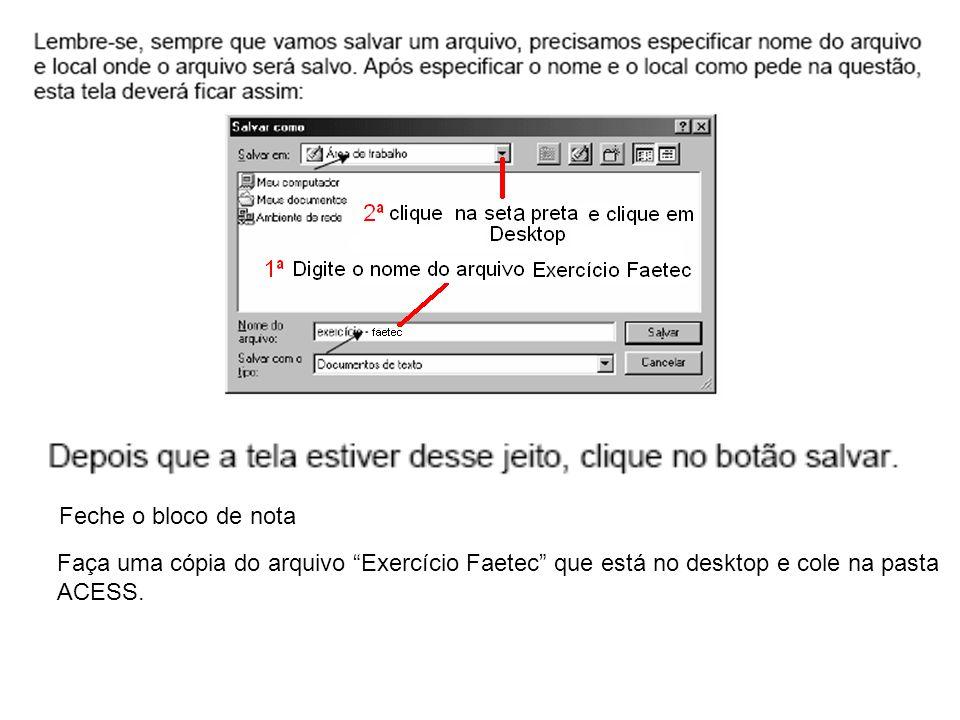 Feche o bloco de nota Faça uma cópia do arquivo Exercício Faetec que está no desktop e cole na pasta.