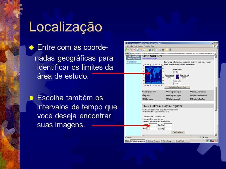 Localização Entre com as coorde-