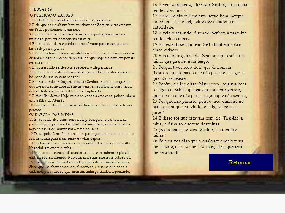 »LUCAS 19 ·O PUBLICANO ZAQUEU. 1 E, TENDO Jesus entrado em Jericó, ia passando.