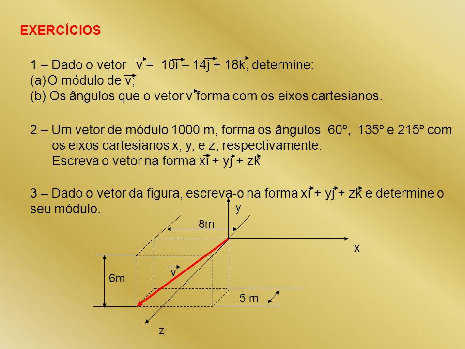 1 – Dado o vetor v = 10i – 14j + 18k, determine: O módulo de v;