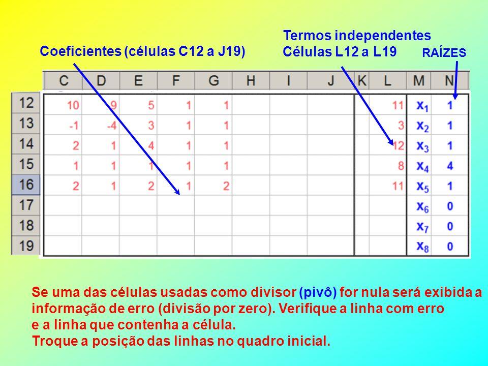 Coeficientes (células C12 a J19)