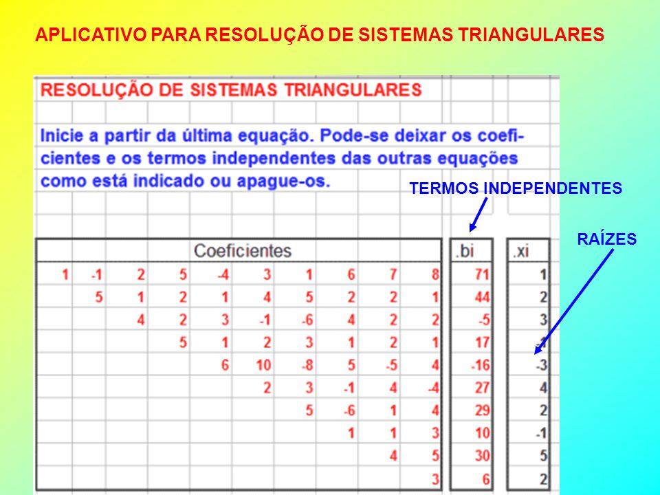 APLICATIVO PARA RESOLUÇÃO DE SISTEMAS TRIANGULARES