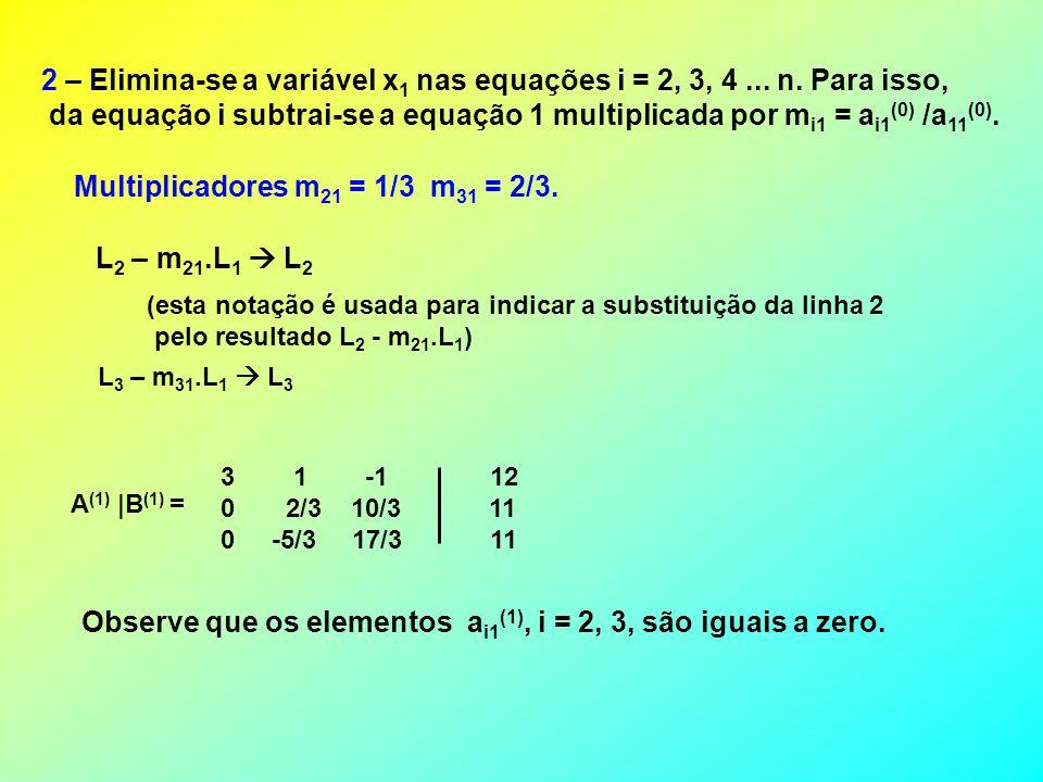 Multiplicadores m21 = 1/3 m31 = 2/3.