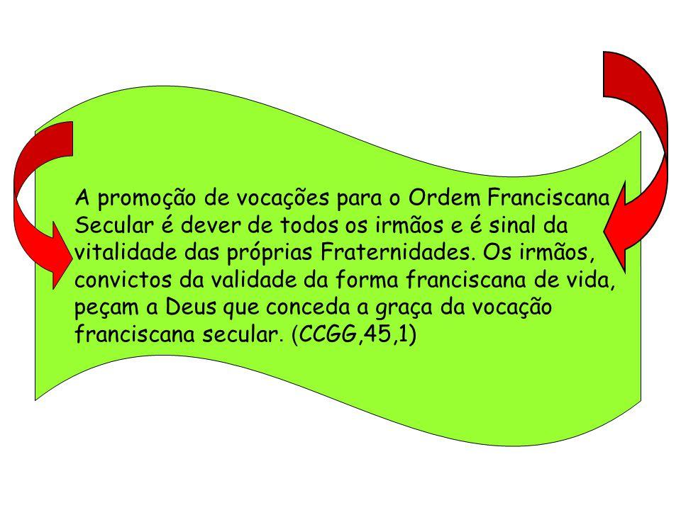 A promoção de vocações para o Ordem Franciscana Secular é dever de todos os irmãos e é sinal da vitalidade das próprias Fraternidades.