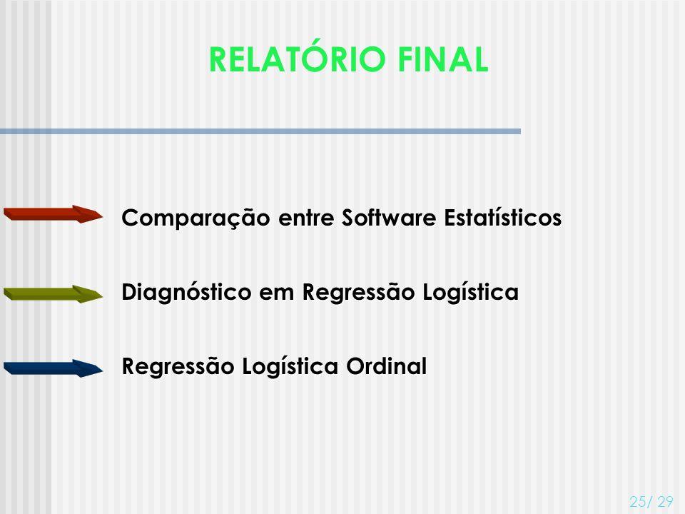 RELATÓRIO FINAL Comparação entre Software Estatísticos