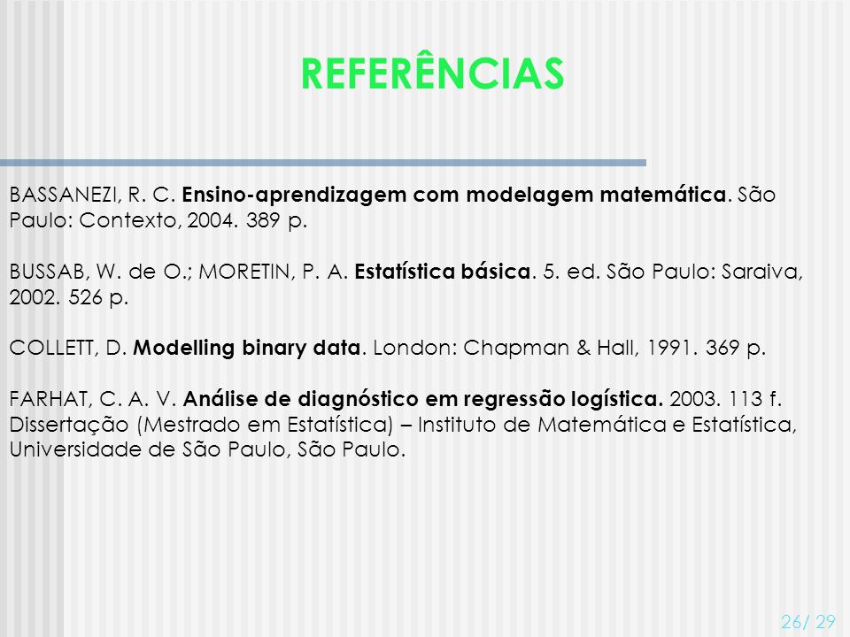 REFERÊNCIAS BASSANEZI, R. C. Ensino-aprendizagem com modelagem matemática. São Paulo: Contexto, 2004. 389 p.