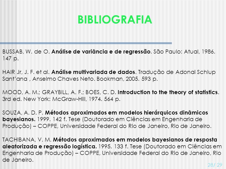 BIBLIOGRAFIA BUSSAB, W. de O. Análise de variância e de regressão. São Paulo: Atual, 1986. 147 p.