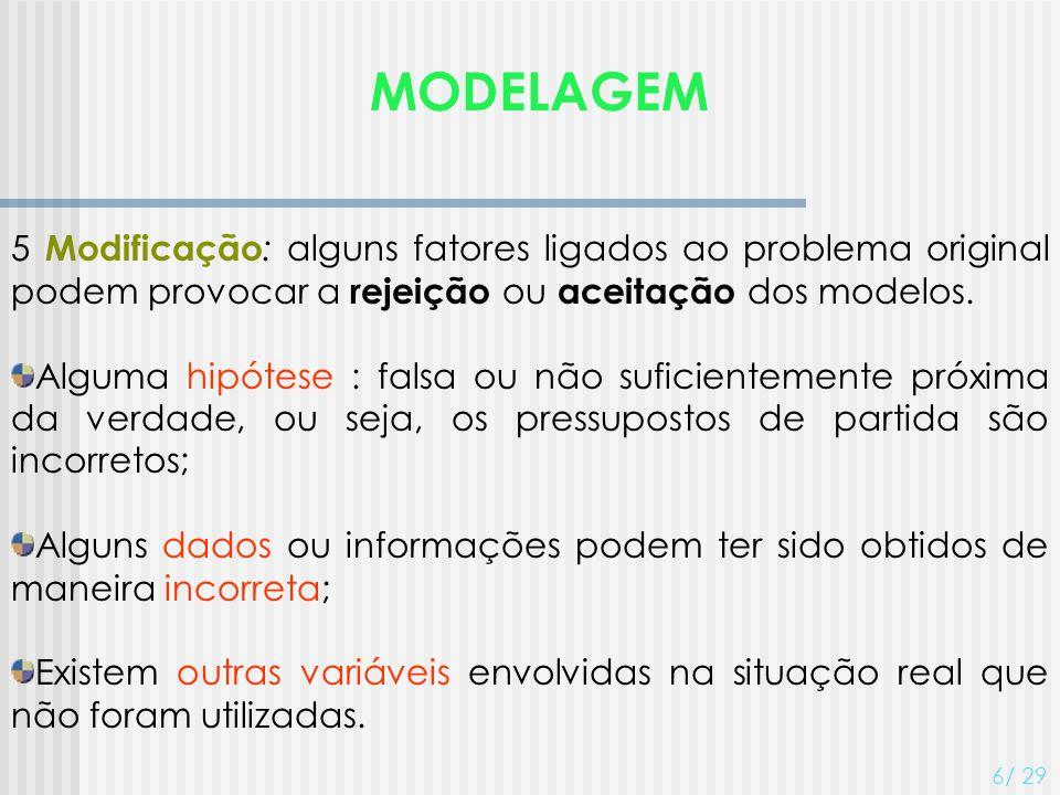 MODELAGEM 5 Modificação: alguns fatores ligados ao problema original podem provocar a rejeição ou aceitação dos modelos.