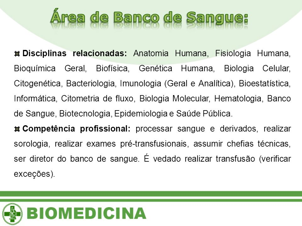 Área de Banco de Sangue:
