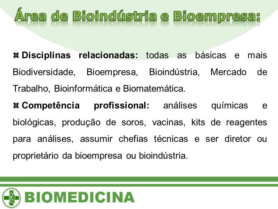 Área de Bioindústria e Bioempresa:
